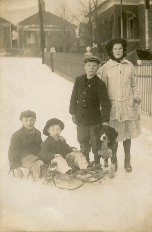 YOUNG children on sled, l-r George, Andrew, Alexander, & Mary