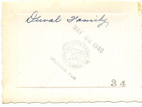 DUVAL family, printed 28 May 1940, Bellingham, WA - photo back