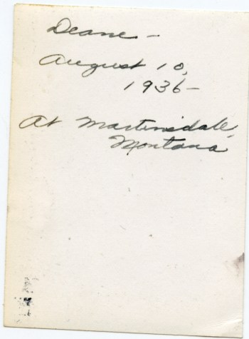 DUVAL, Deane, 10 August 1936, Martinsdale, Montana - photo back