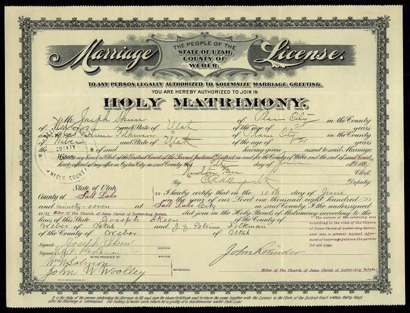 SKEEN, Joseph & Jane Zina Petrina Folkman, marriage license and return info