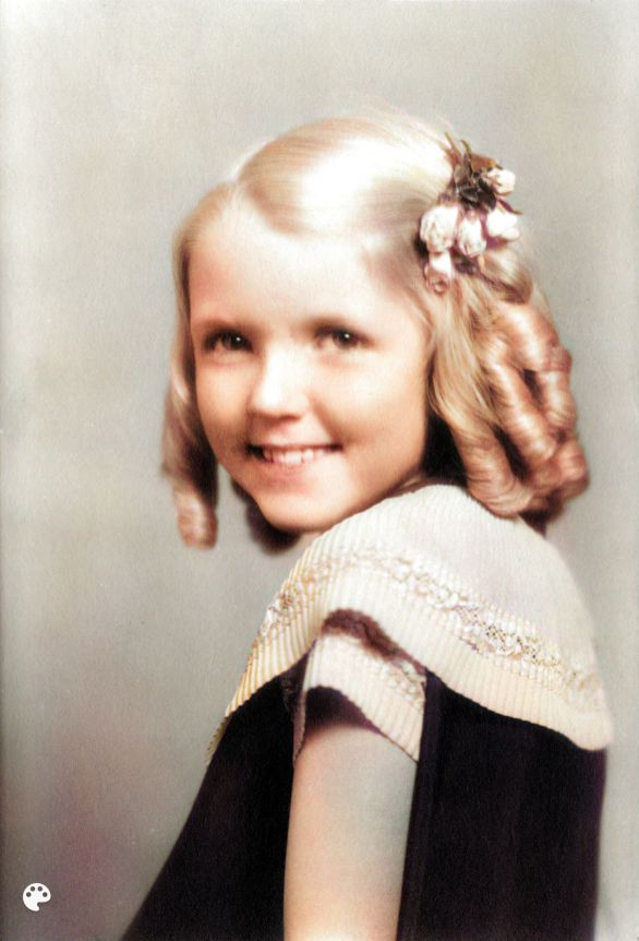 Mary Margaret Ellis with ringlets, Colorized