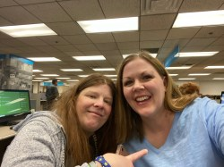 My dear friend Marie Cappart in the library!
