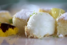 Coconut cake with lemon ice
