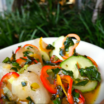 Flounder crudo with japanese eggplant, sweet peppers, charred scallions and cucumbers from Verde.