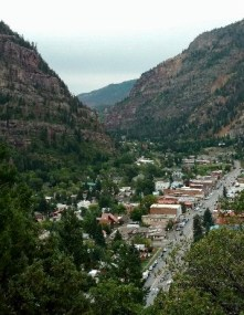 Ouray, Colorado as seen from the road above during Colorado Road Trip.