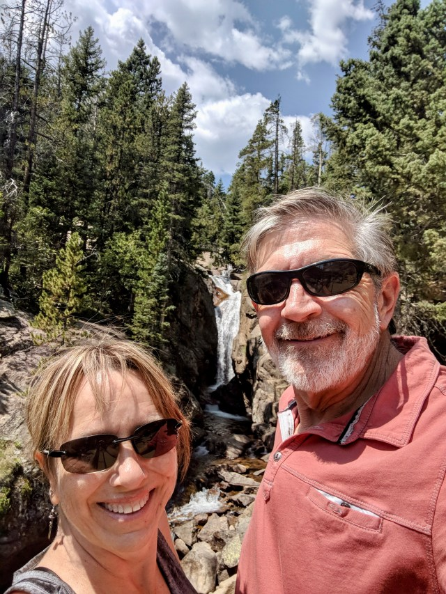 Selfie of a couple at Chasm Falls in Rocky Mountain National Park