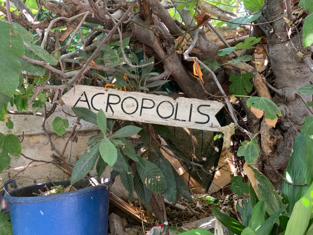 Acropolis sign at Anafiotika
