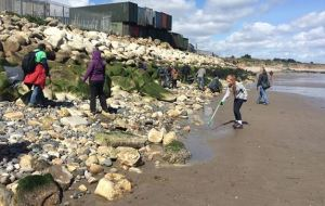 Some of the group cleaning up the beach