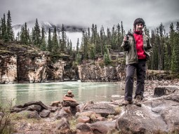 K with our GPSr along the banks of the Athabasca River downstream of the falls
