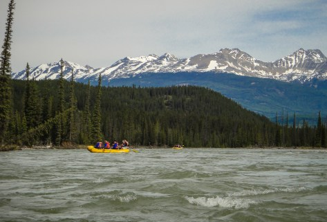 Ahead of us, another raft full of CSS students on the Athabasca River near Jasper