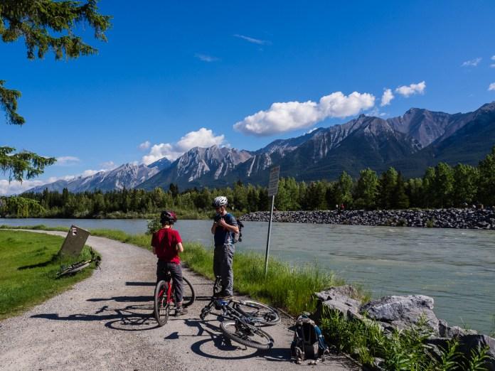Mr. GeoK and K stop along the Riverside bike path