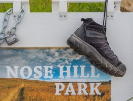 If needed, a pair of boots is available at the trail head in Nose Hill Park