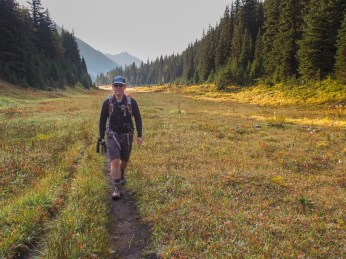 Mr. GeoK crossing the first meadow, just off the Highwood Meadows Interpretive Trail