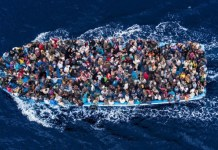 People crossing the Mediterranean Sea in a boat