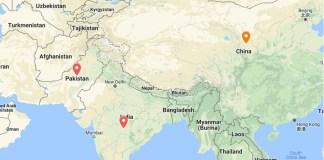 India, Pakistan, China and Bangladesh map
