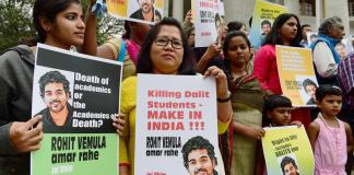 A protest of students over the death of Rohit Vemula in India