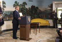 Trump's addressing after withdrawing from Iran deal