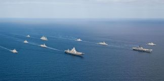 Indian Navy Ships in formation