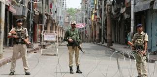 Soldiers in a street in Kashmir
