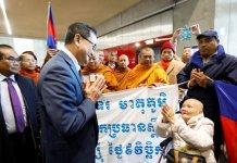 Sam Rainsy at Malaysian airport