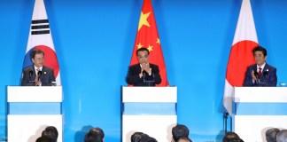 China's Premier Li Keqiang, Prime Minister Shinzo Abe and President Moon Jae-in
