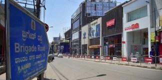 Empty Brigade Road in Bengaluru