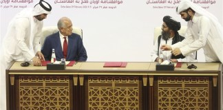 The signing of the US-Taliban Peace Agreement