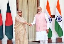 Prime Minister, Shri Narendra Modi with the Prime Minister of Bangladesh, Ms. Sheikh Hasina
