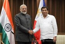 Indian Prime Minister Narendra Modi and Philippines President Rodrigo Duterte
