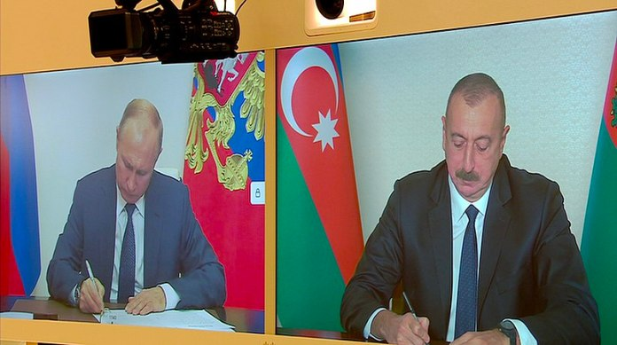 President Ilham Aliyev and Russian President Vladimir Putin met in a videoconference