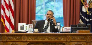 President Barack Obama on telephone