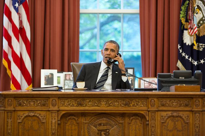 President Barack Obama on telephone