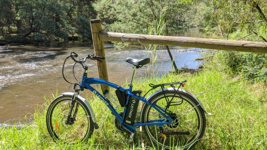 A Leitner E-bike pictured in front a section of the Yarra River in Melbourne, Australia.