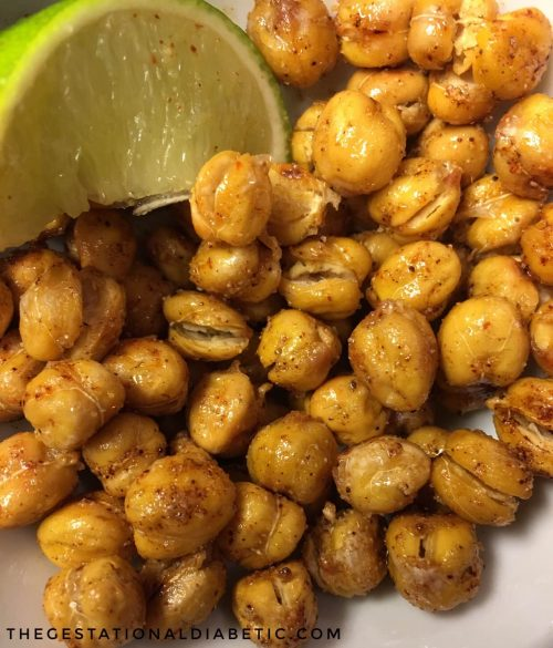 Four flavors of roasted chickpeas that you can eat like popcorn or add to a meal. thegestationaldiabetic.com