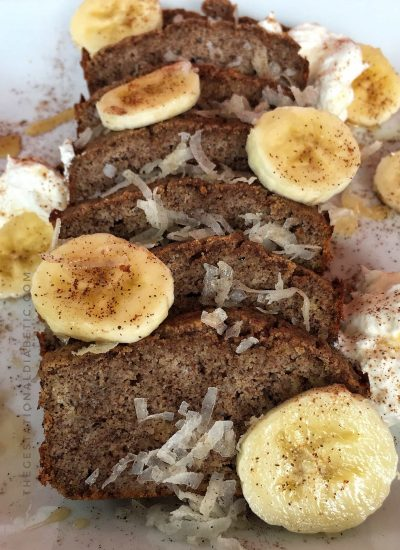 This sugar free Coconut Banana Bread is low-carb, high fiber, only 8 ingredients and ready in 35 minutes! Made for Gestational Diabetes, Keto, Paleo, Vegertarian, Gluten Free, Grain Free and Dairy Free. thegestationaldiabetic.com