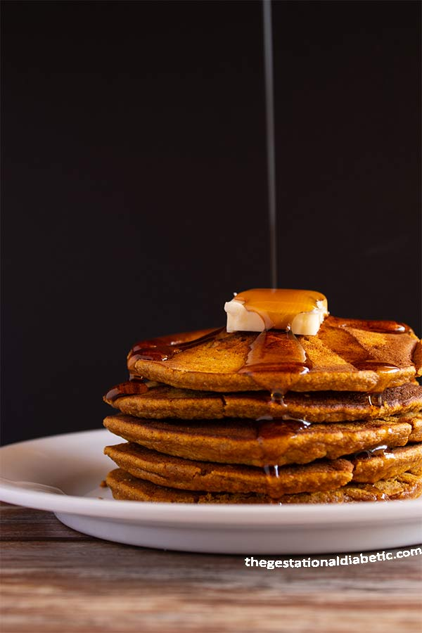 Fluffy, sugar free and gluten free, these healthy Pumpkin Pancakes are nutrient dense to start your day right! Check out the macro nutrients! Only 9 ingredients and ready in 20 minutes. Keto too. thegestationaldiabetic.com