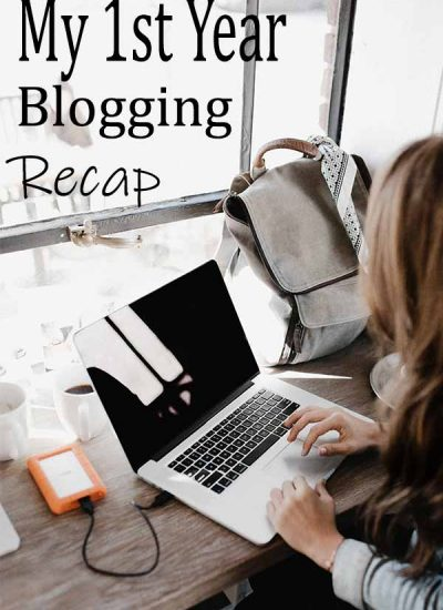 """woman with laptop captioned """"my 1st year blogging recap"""""""