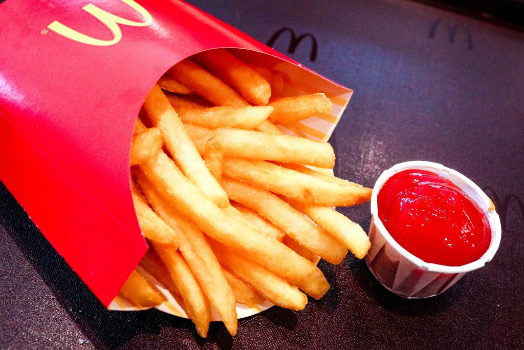 McDonald's fries with a side of ketchup