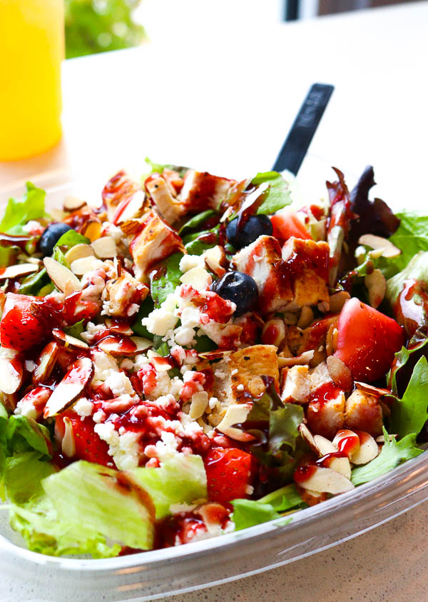 Wendy's Berry Burst Chicken Salad with sliced almonds, grilled chicken and raspberry vinaigrette.