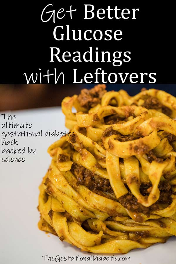 """pasta with text """"get better glucose readings with leftovers"""""""