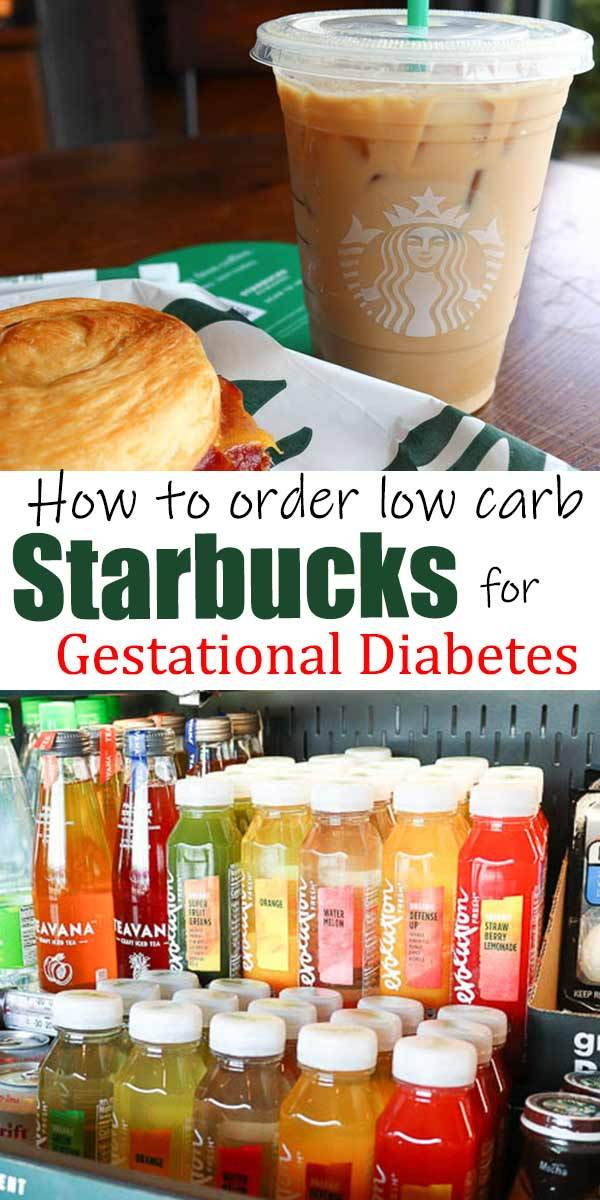 """2 pictures of starbucks products separated by text """"how to order low carb starbucks for gestational diabetes"""""""