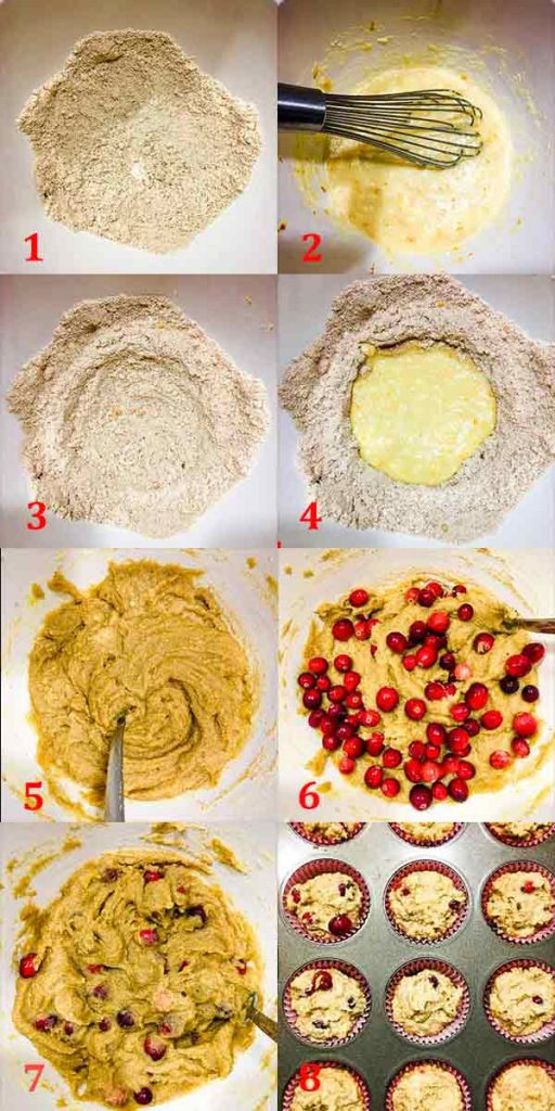process shots for low carb gluten free cranberry orange muffins