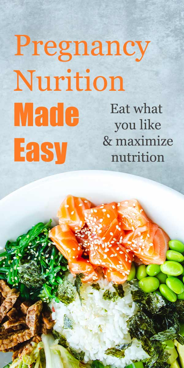 "a bowl of healthy foods with text overlay ""pregnancy nutrition made easy"""