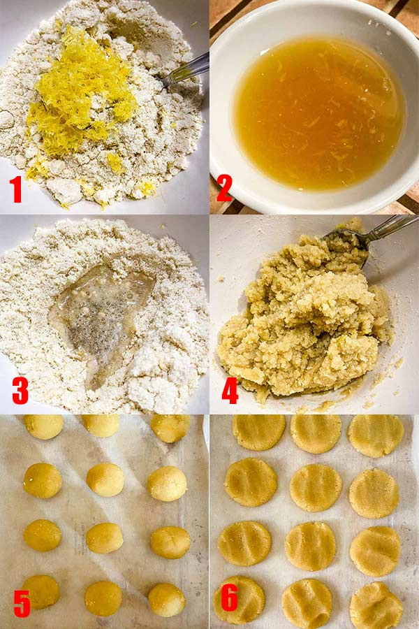 6 process shots in one graphic for the steps on how to make soft and chewy lemon cookies