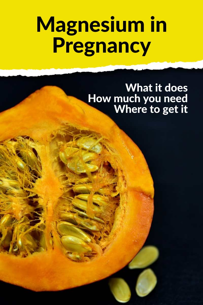 "half of a squash with seeds and text ""magnesium in pregnancy"""