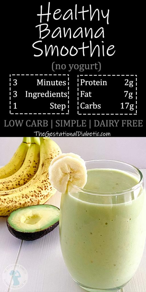 healthy banana smoothie with nutrition facts and abbreviated recipe info
