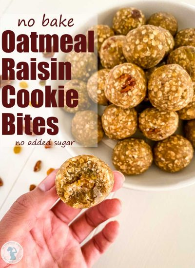 "oatmeal cookie balls in a bowl ""no bake oatmeal raisin cookie bites"""