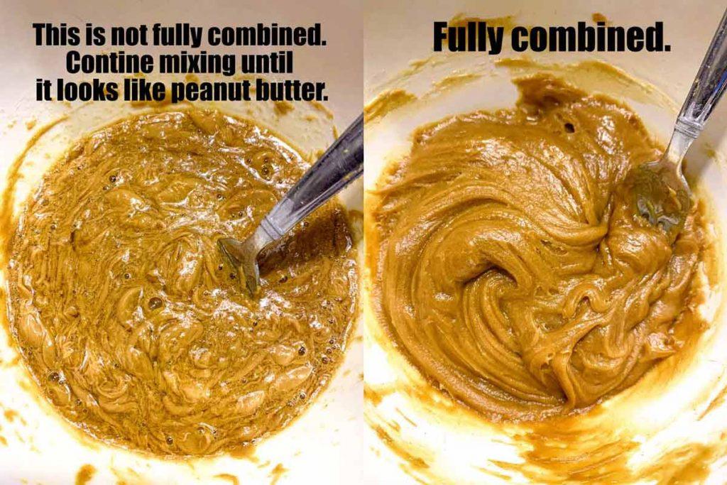 peanut butter cookie batter side by side