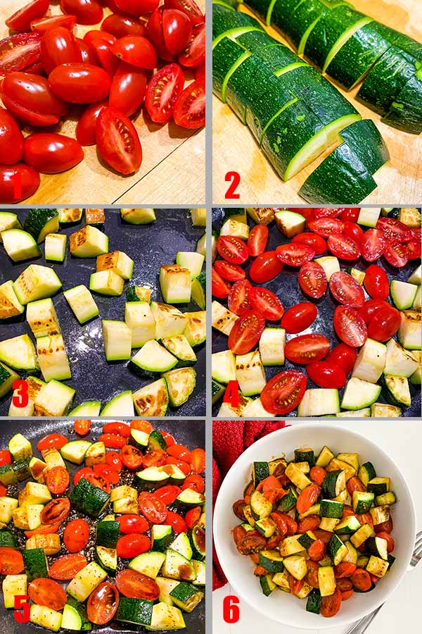 process shots for balsamic glazed zucchini and tomatoes