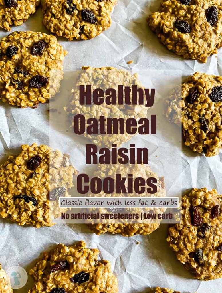 flat lay of healthy oatmeal raisin cookies